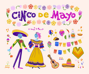Vector cinco de mayo set of mexico traditional elements, symbols & skeleton characters in flat hand drawn style isolated on white background. Mexican celebration, national patterns & decorations, food