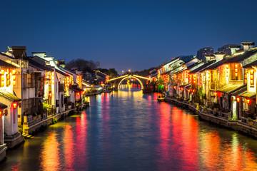 Night view of Qingming Bridge in Wuxi, China.