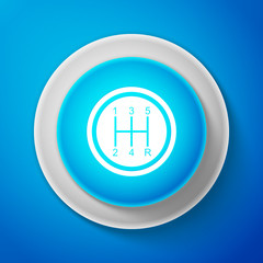 White Gear shifter icon isolated on blue background. Transmission icon. Circle blue button with white line. Vector Illustration