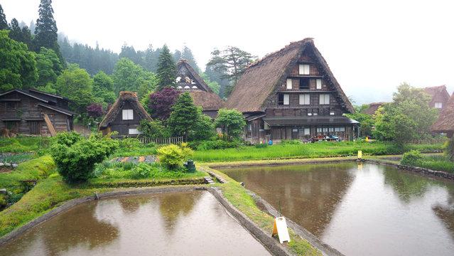 Shirakawa-go village in the rainy day