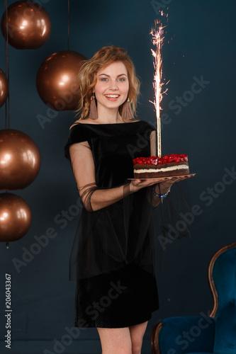 Amazing Sparkling Firework On Birthday Cake In Teenage Girl Hands Black Birthday Cards Printable Opercafe Filternl