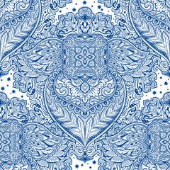 Decorative vintage leafy floral seamless pattern.