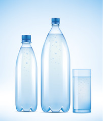 set of Water bottles and glass with water drops