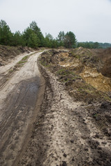illegal mining of sand for construction. Destruction of coniferous forest and soil contamination. Pirate sand pit. Ukraine.