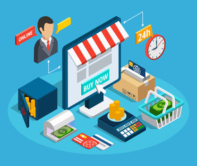 Banking Online Shop Isometric Composition