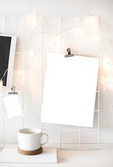 White studio room interior with posters mock-up, scandinavian st