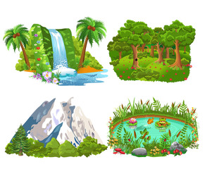 set of four natural icons like island, forest, mountains and pond