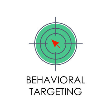 colored behavioral targeting illustration. Element of marketing and business flat for mobile concept and web apps. Isolated behavioral targeting flat can be used for web and mobile