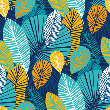 Vibrant cool leaves seamless pattern