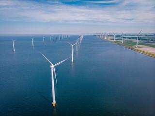 drone view windmill park at sea, windmill farm ocean