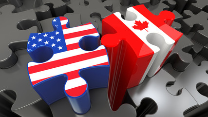 USA and Canada flags on puzzle pieces.