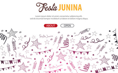 Festa Junina background with hand draw doodle elements. Brazil or Latin American holiday. Vector illustration