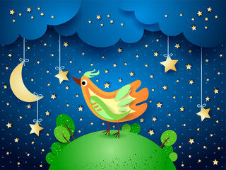 Surreal night with hanging stars and bird