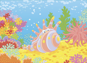 Exotic shell of among colorful corals on a reef in a tropical sea, vector illustration in a cartoon style
