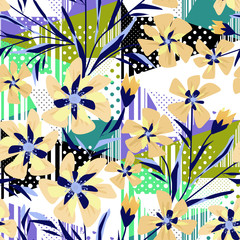 Seamless colorful abstract floral patterned background with stripes and polka dots.