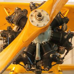 Detail eines 7-Zylinder-Sternmotors eines alten Flugzeugs.