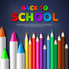 Back to school paper cut style letters with realistic colorful pencils and markers. Blackboard background. Vector illustration.