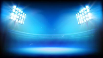 Spotlights illuminating the stadium. Abstract vector illustration.