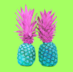 Fahion two pineapple on colorful green background, ananas photo