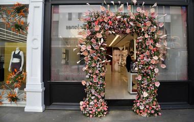 A floral display and design is seen outside of a shop front which is participating in the Chelsea In Bloom festival in London, Britain