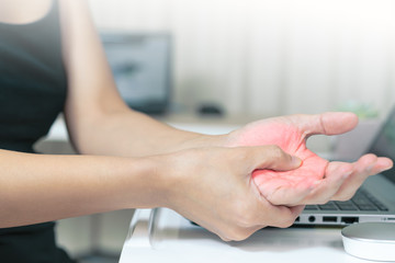 woman hand pain long use mouse working. office syndrome healthcare and medicine concept
