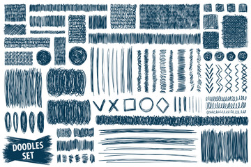 Doodles set. Scribble collection. Hand drawn effect vector. Scrawl elements. Notebook abstract drawing for your design. Simple pen, ink or pencil scribbles. Scrawls for creative project or prints.