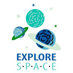 Explore space slogan and rocket vector