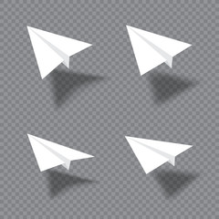 Paper plane set with shade fly over gray transparent background. Collection of white origami airplane flight and leave shadow