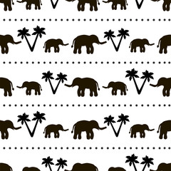 Seamless pattern with black elephants and their babies, palm trees on the white background.