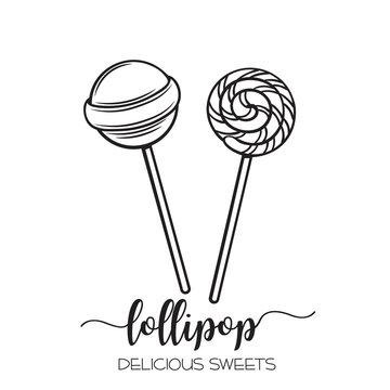 Vector hand drawn lollipop candy