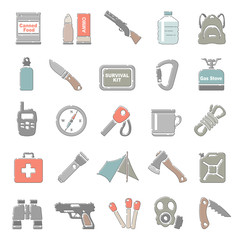Outline Color Icons - Survival Equipment