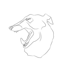portrait of a dog that yawns, lines, vector