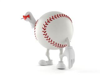 Baseball character holding thumbtack