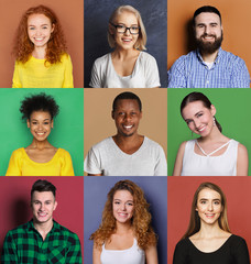 Diverse young people positive emotions set