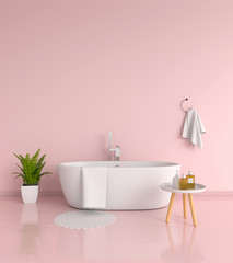 Pink bathroom interior, 3D rendering