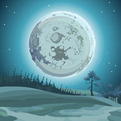 cartoon background big moon at night over the forest