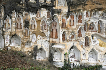Akauk Taung Buddha cliff carvings pagodas are seen next to the UNESCO world heritage site of Pyu Ancient Cities outside Pyay