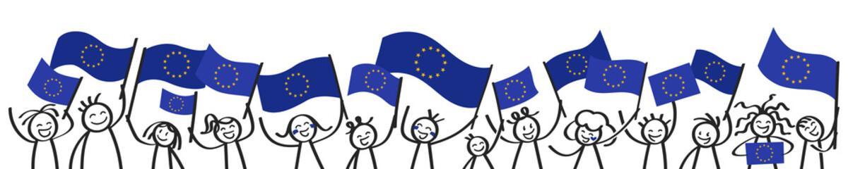 Strichmännchen mit Europaflaggen, Unterstützer der EU, Banner, Befürworter der Europäischen Union