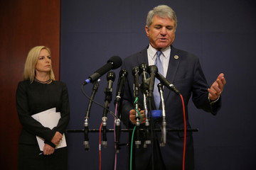 Secretary of Homeland Security Nielsen and House Homeland Security Committee Chairman McCaul speak to reporters after a classified briefing on election security at the U.S. Capitol in Washington