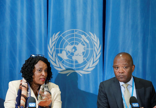 Nkengasong Director of the Africa Centres for Disease Control and Prevention and Agama-Anyetei Head of Health, Nutrition and Population at the African Union Commission attend a news conference in Geneva