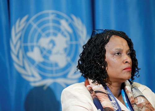 Agama-Anyetei, Head of Health, Nutrition and Population at the African Union Commission attends a news conference in Geneva