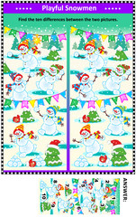 Winter, Christmas or New Year themed visual puzzle with happy playful playful snowmen: Find the ten differences between the two pictures. Answer included.