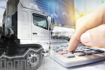Calculation of gasoline price increasing concept with truck transportation service background.