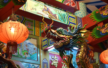 Chinese culture in Thailand. Dragon statue in the shrine.