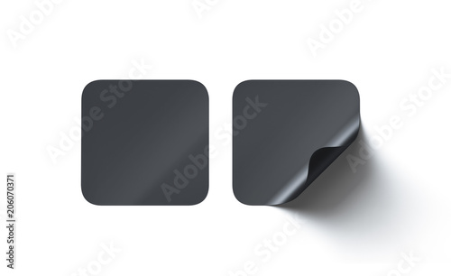 U0026quot Blank Black Square Adhesive Stickers Mock Up With Curved Corner  3d Rendering  Empty Quadratic