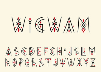Vector alphabet set. Capital letters in geometric indigenous style. For hipster theme, trendy posters.