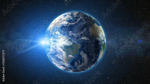 Wall mural Sunrise view from space on Planet Earth. South America zone. World in black Universe in stars. High detailed 3D Render animation. Realistic world globe. Elements of this image furnished by NASA