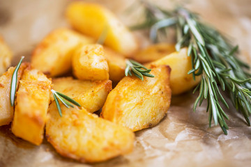 Oven roasted potatoes with rosemary herb , selective focus