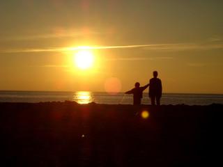 Insel Strandkorb Strandkörbe Nordsee Meer Sonne Familie Liebe Sonne Sonnenuntergang