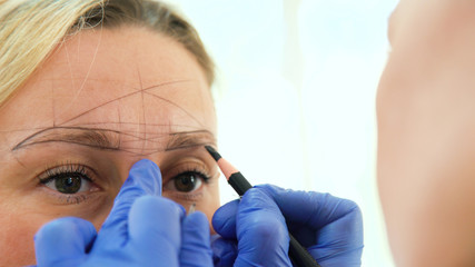 Cosmetologist preparing woman for eyebrow permanent makeup procedure, closeup